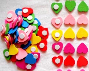 Wooden heart embellishments, mixed colour set of 20