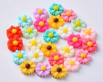 flower cabochons, mixed colour 11mm