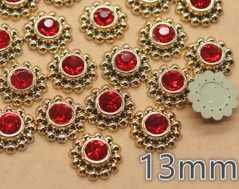 Round red rhinestone cabochons, 13mm
