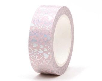 Pink hearts washi tape, 10m