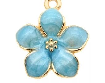 blue enamel flower charm x2