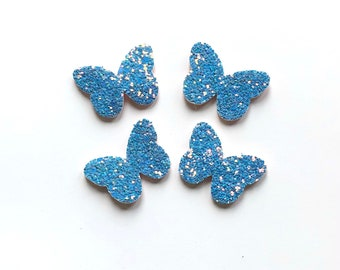 Blue butterfly glitter patch x 2