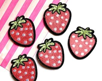 Strawberry iron on patch