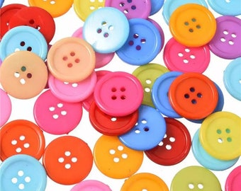 Round mixed colour buttons, 25mm