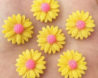 Flower cabochons, 20mm yellow glitter