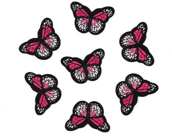 Butterfly mini patches x 2, dark pink