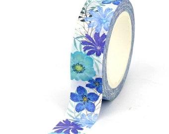 Blue flowers washi tape roll, 10m