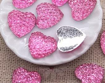 Glitter heart embellishments, pink 11mm