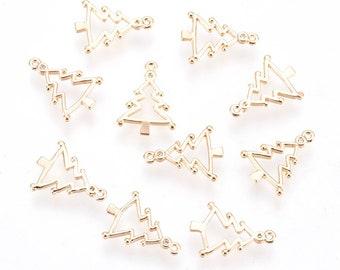 Christmas tree 18k gold plated charm x 2