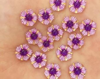 Purple glass effect flower embellishments
