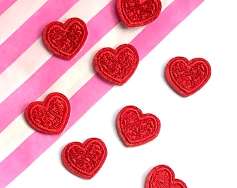 Mini red heart patches x 5