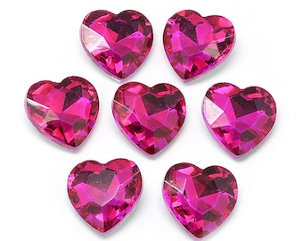 Pink glass faceted hearts, 8mm