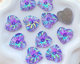 Rhinestone purple heart cabochons, 10mm