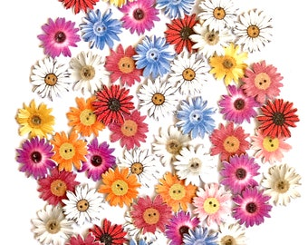 Flower wooden sewing buttons, Set of 10