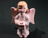 Vintage Ceramic Choir Pig Tails Angel in Blue Robe, Reading from a Song Scroll. 5 quot Tall, 1950 39 s. Nice Condition. Cute Hand Painted Face.