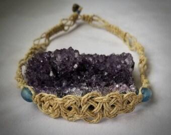 Hemp Choker with Blue Glass Beads