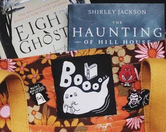 Booooks Spooky Ghost Reader Sew On Patch