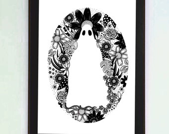 Botanical Ghost A4 Black and White Print