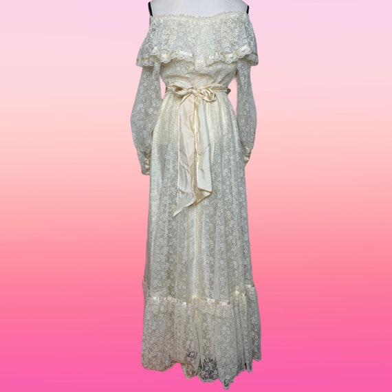 Cottagecore Prairie Dress, 70s Gunne Sax, Lace Fl… - image 3