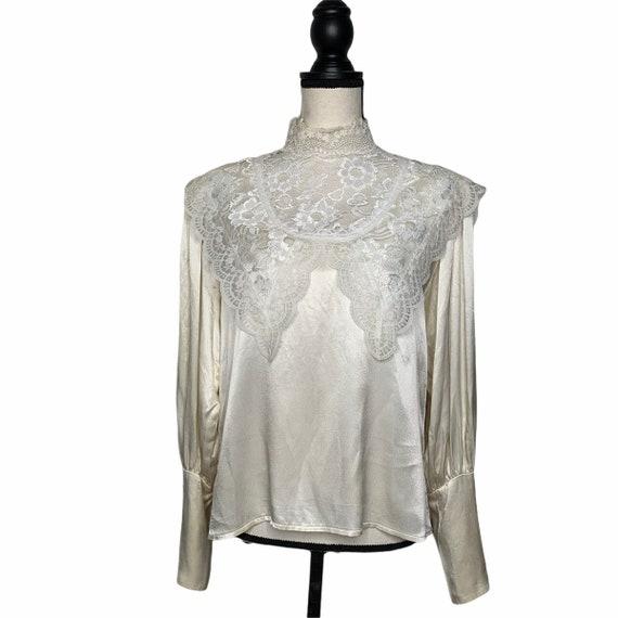 Vintage Gunne Sax Edwardian Silk Lace Blouse - image 7
