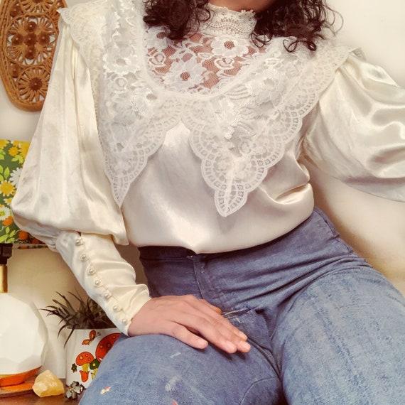 Vintage Gunne Sax Edwardian Silk Lace Blouse - image 1