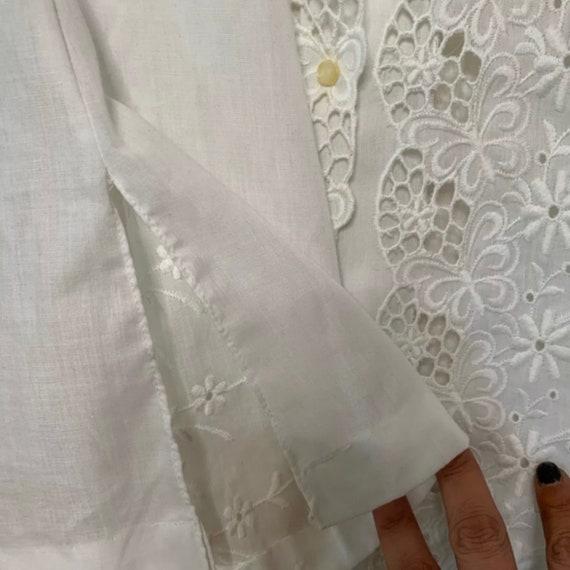 Vintage Mod Mini Dress, White Eyelet Dress, 60s M… - image 7