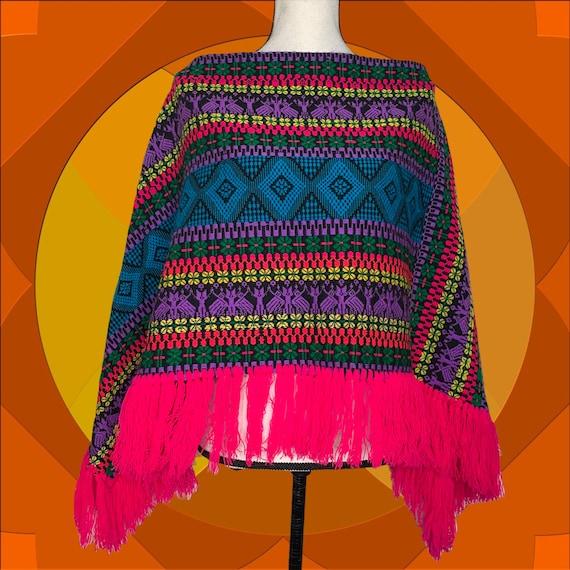 Vintage Psychedelic 70s Hippie Poncho Cape