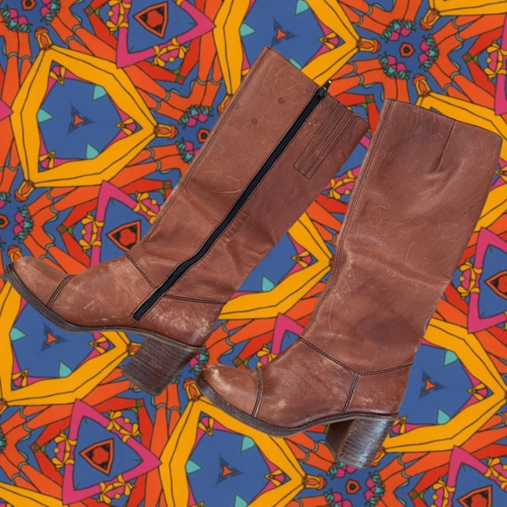 1970s Vintage Groovy Tall Leather Boots