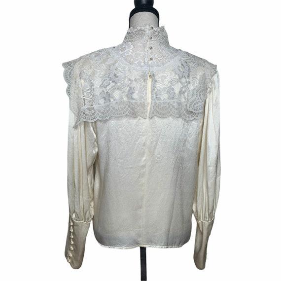 Vintage Gunne Sax Edwardian Silk Lace Blouse - image 8