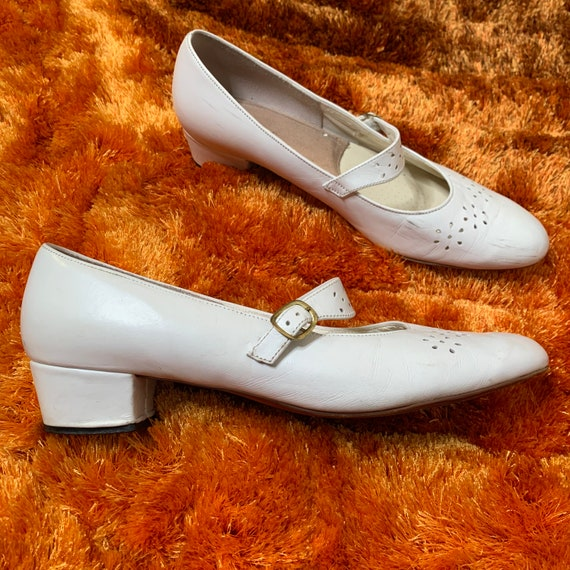 White Perforated Mary Jane Shoes