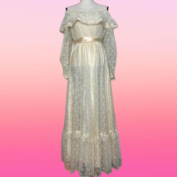 Cottagecore Prairie Dress, 70s Gunne Sax, Lace Fl… - image 1