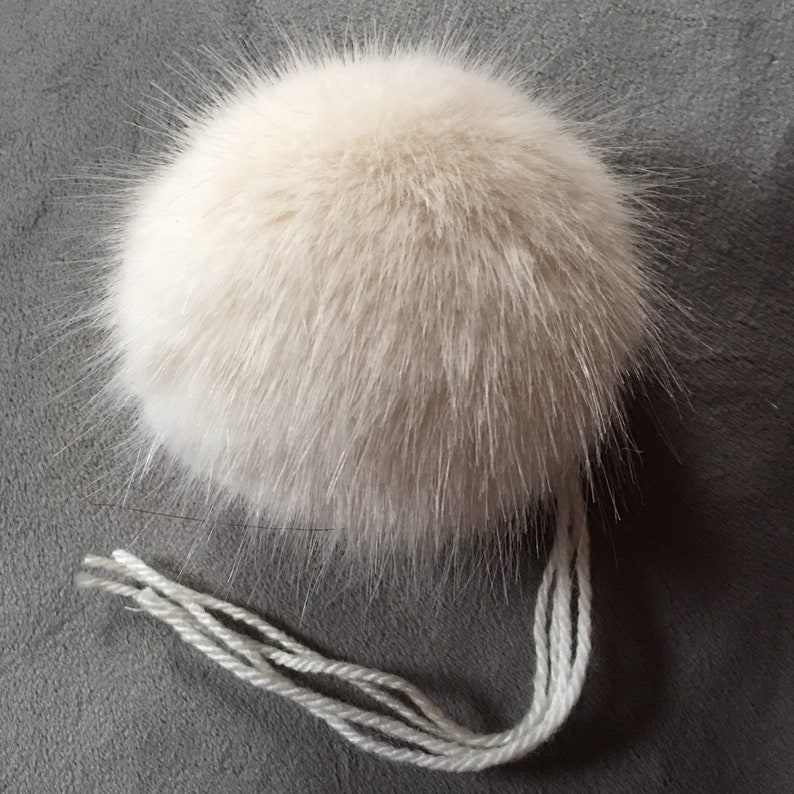 f83605acd Cream Ivory Faux Fur UK Made Pom Pom, Washable, Sew or Tie on, 4 attaching  yarns,