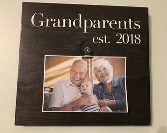 Grandparents est. year Wooden photo holder