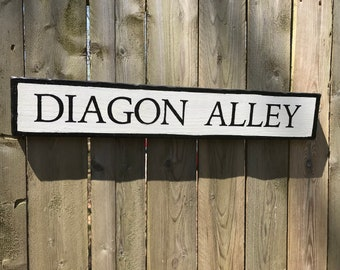 Diagon Alley painted wooden sign