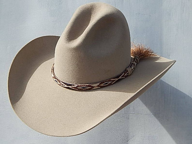 052cbc1beaa04 8X Fur Felt Gus Cowboy Hat with Hitched Horse Hair Band