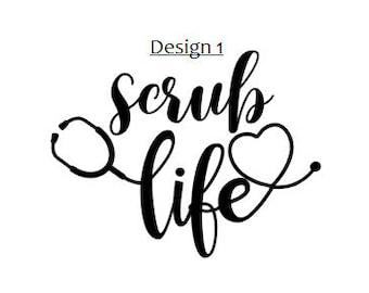 scrub life etsy Rad Tech scrub life vinyl decal doctor nurse