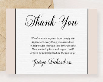 classic grey funeral thank you card memorial service editable template obituary service microsoft word template funeral acknowledgement card