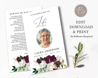 In loving memory obituary FUNERAL PROGRAM EDITABLE Template Celebration of Life Printable Classic Memorial Program Black /& White 001A