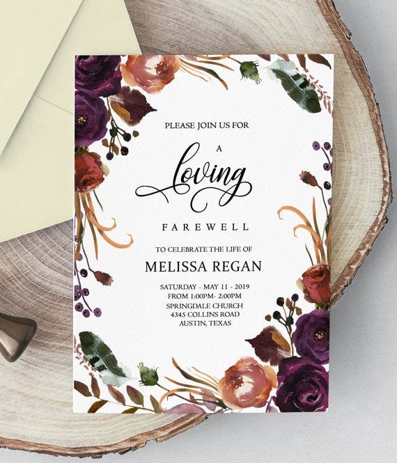 Floral Funeral Announcement Invitation Mourning Invitation Cards Memorial Service Editable Template Obituary Service Microsoft Word Template