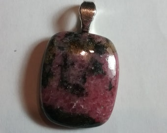 Natural Rhodonite Gemstone Cabochon Pendant