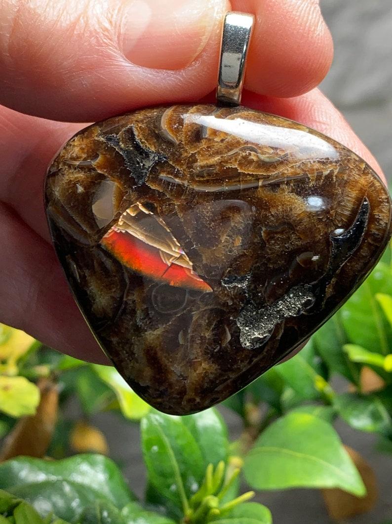 Healing Stone Natural Unique Ammonite Gemstone with Ammolite inclusion Gemstone Pendant Russian Ammonite Gemstone High Grade Sea Fossil