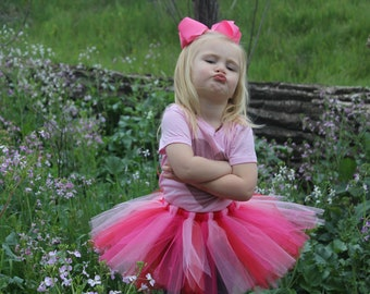 Pink and red LOVE tutu/bow and ribbon waist options available