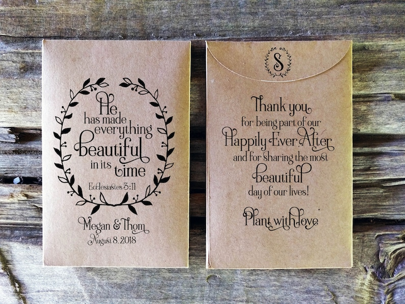 Bible Verse Seed Packet Wedding Favor Rustic Bridal Shower Etsy
