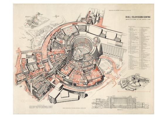 BBC Television Centre Architects Drawing Print Plan Poster 1957 Free P/&P