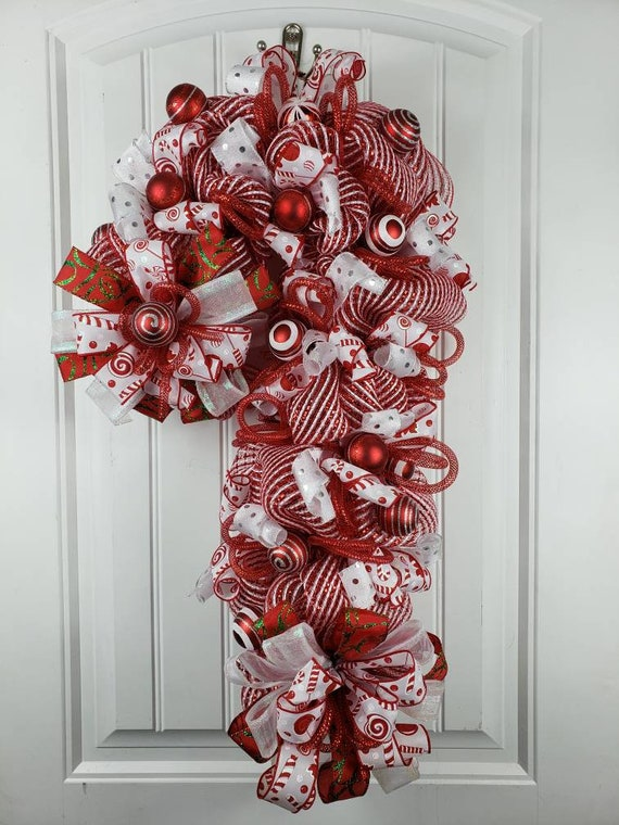 Christmas Candy Cane Candy Cane Decorations Candy Cane Decor Christmas Door Hanger Holiday Door Hanger Christmas Decorations Christmas