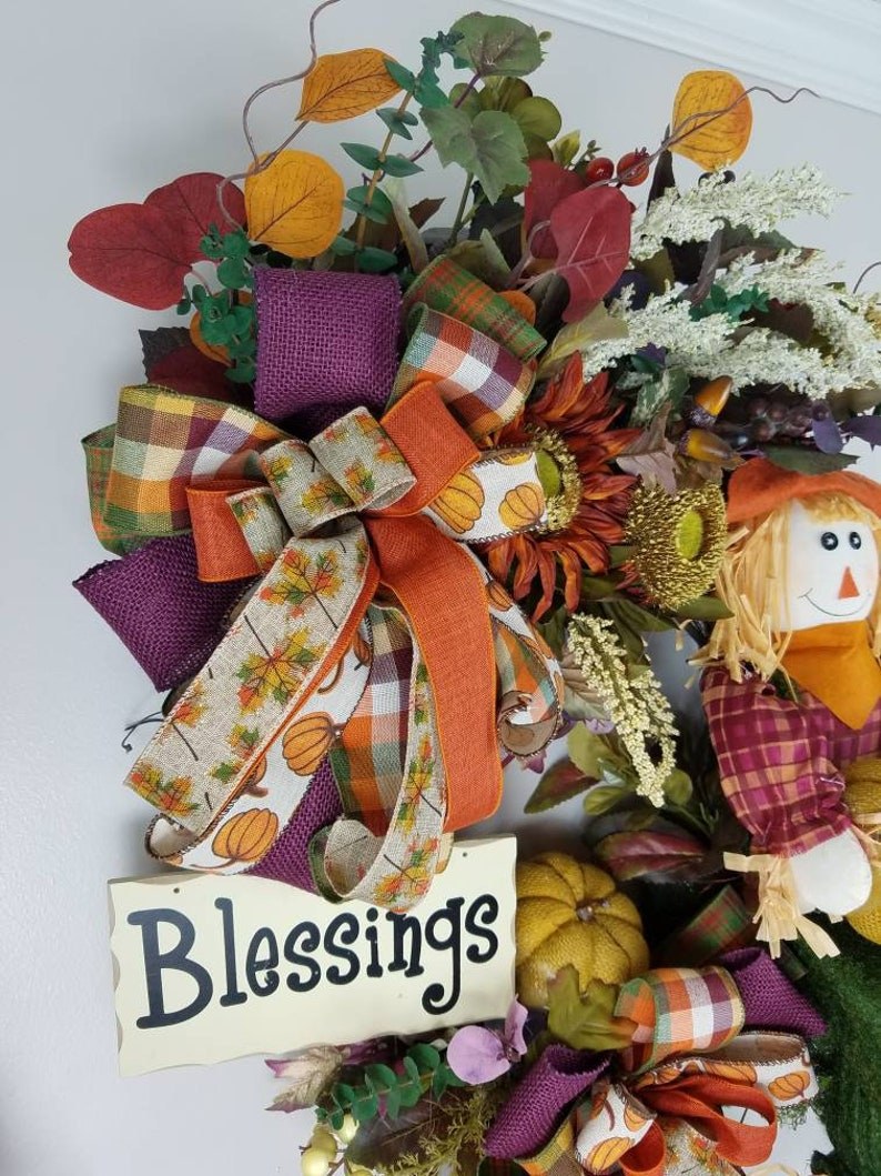 floral scarcrow decoration,fall blessing decoration fall decor fall wreath Thanksgiving decoration farmhouse decor fall decorations,