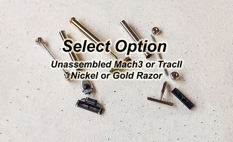 Unassembled razor, two cartridge options, nickel plated handle, razor  parts, diy, gold handle, razor parts, razor handle, assemble yourself