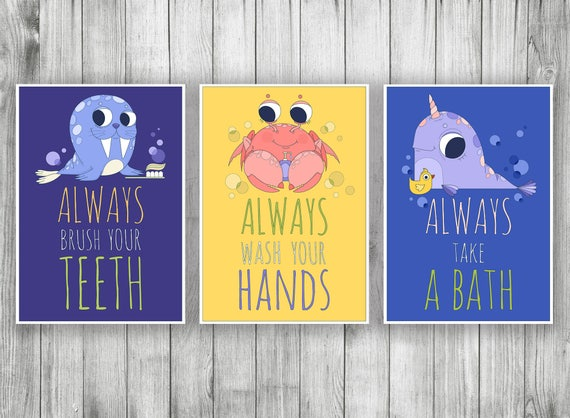 Bathroom Wall Decor Set Printable Kids Bathroom Signs Funny