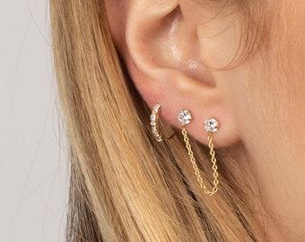 8ed25f1ee Cz stud with chain, Dainty stud earring, Delicate earring, Dangling chain  earring, Two studs chain earring, Gold dainty earring, Minimalist