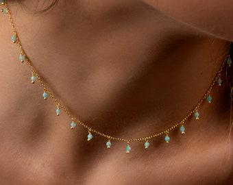 Amazonite dangling choker, Turquoise choker necklace, Dangling stones necklace, Dainty gold necklace, Delicate necklace, Gold choker